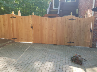 6' Cedar Concave Board on Board Fence with French Gothic Posts (Front View)