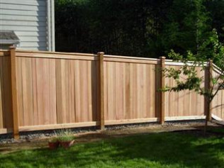 6' Solid Cedar Fence with Top Rail and Custom Notched Posts